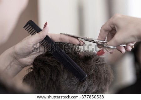 Hairdresser with scissors and comb cutting short hair