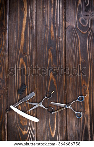 Hairdressing tools on copy space - stock photo