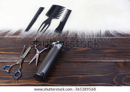 Hairdressing tools on copy space. - stock photo