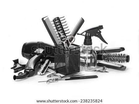 Hairdressing tools on white background - stock photo