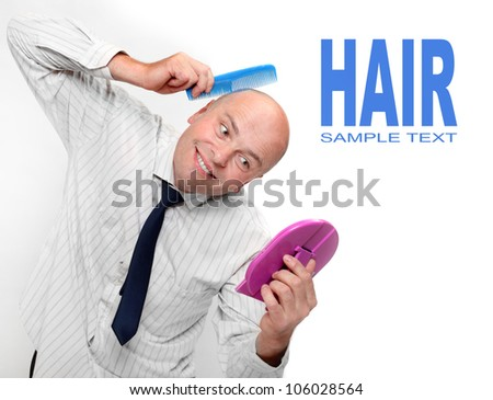 Hairless businessman with mirror - forever beautiful. ( Narcissus concept )