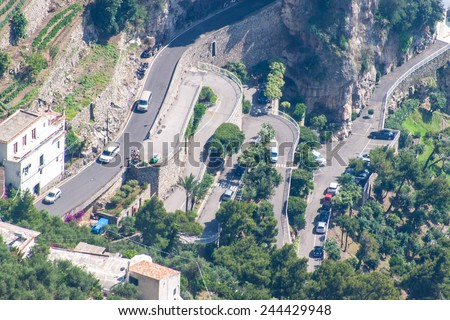Hairpin turns on a road in a village Praiano at Amalfi coast, Italy - stock photo