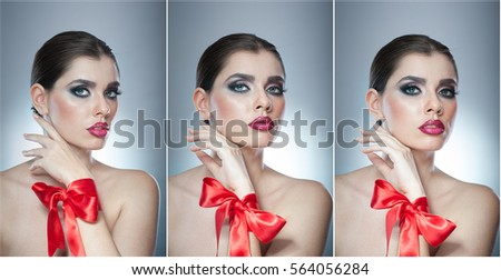 Hairstyle and Make up - beautiful female art portrait with red ribbon. Elegance. Genuine Natural brunette with ribbon - studio shot. Portrait of a attractive woman with beautiful eyes and red lips