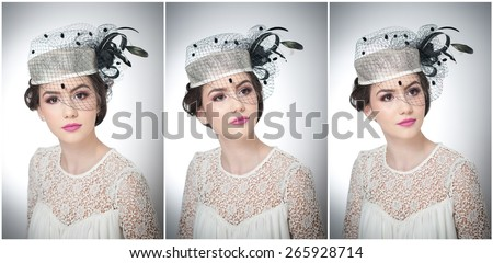 Hairstyle and make up - beautiful young girl art portrait. Cute brunette with white cap and veil, studio shot. Attractive female with beautiful lips and eyes in white lace blouse, over white - stock photo