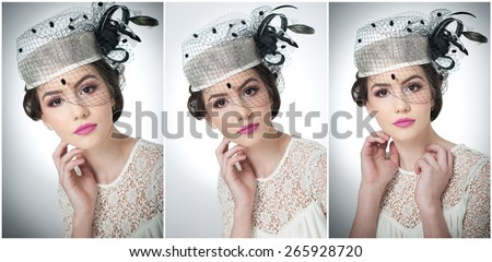 Hairstyle and make up - beautiful young girl art portrait. Cute brunette with white cap and veil, studio shot. Attractive female with beautiful lips and eyes in white lace blouse, over white
