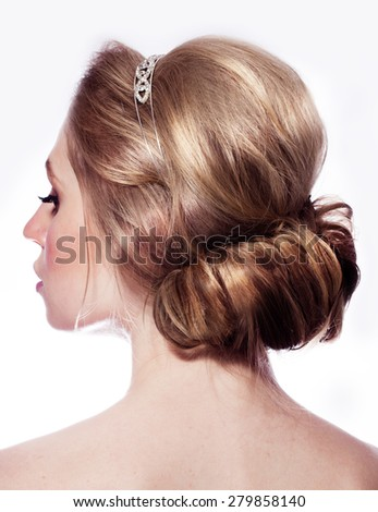 Hairstyle blond hair - stock photo