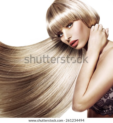Hairstyle fashion portrait - stock photo