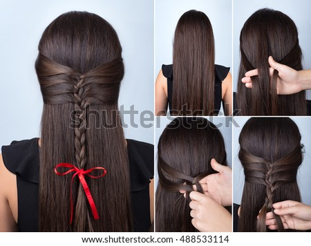 New Year Hairstyles For Long Hair : Simple twisted hairstyle heart scrunchy tutorial stock photo