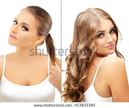 Hairstyle.Healthy Long Hair .Hair Growth - stock photo
