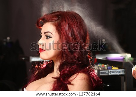 Hairstylist Spraying Hairspray Onto A Customer - stock photo