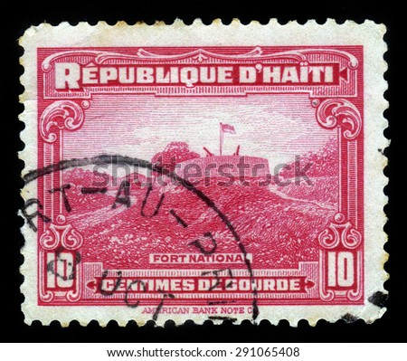 Haiti - CIRCA 1933: a stamp printed in Haiti shows Fort Nacional, circa 1933 - stock photo