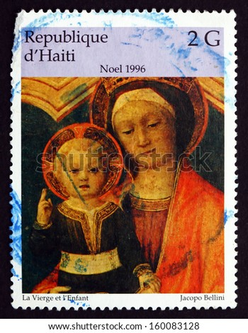 HAITI - CIRCA 1996: a stamp printed in Haiti shows The Virgin and Infant, Painting by Jacopo Bellini, Christmas, circa 1996 - stock photo