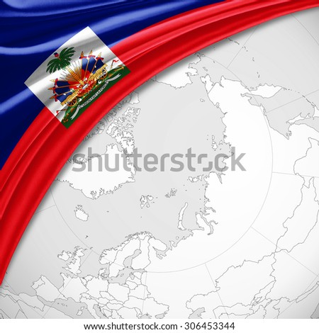 Haiti  flag of silk with copyspace for your text or images and world map background - stock photo