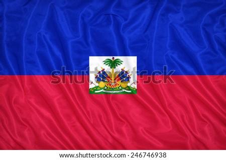 Haiti flag pattern on the fabric texture ,vintage style - stock photo