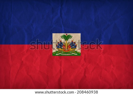 Haiti flag pattern on the paper texture ,retro vintage style