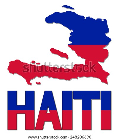 Haiti map flag and text illustration - stock photo