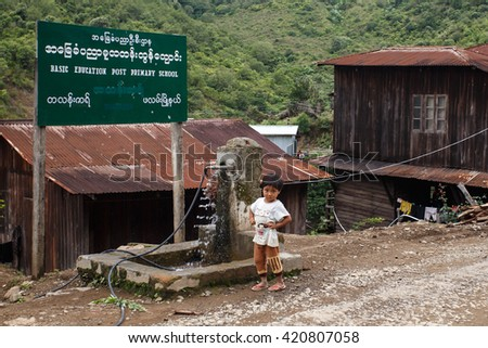 HAKHA, MYANMAR - JUNE 19 2015: Local child in the Hakha region in Chin State, Myanmar. - stock photo