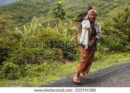 HAKHA, MYANMAR - JUNE 19 2015: Local woman carrrying wood on head in the Hakha region in Chin State, Myanmar. - stock photo
