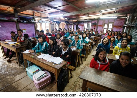 HAKHA, MYANMAR - JUNE 19 2015: Students in loocal school in the Hakha region in Chin State, Myanmar. - stock photo