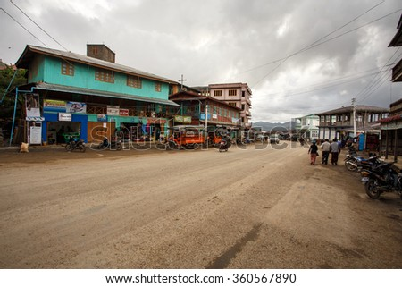 HAKHA, MYANMAR - JUNE 19 2015: Town Center in the Hakha region in Chin State, Myanmar. - stock photo