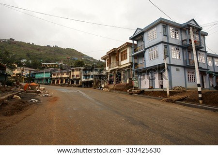 Hakha Town Center in Chin Stae, Myanmar (Burma) - stock photo