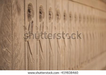 Hakhamaneshi soldiers in Persepolis - stock photo