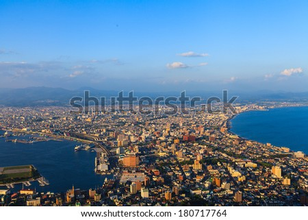 Hakodate Cityscape from Mt.Hakodate Hakodate, Japan. The city was the first in Japan to open its ports to trade in 1854.
