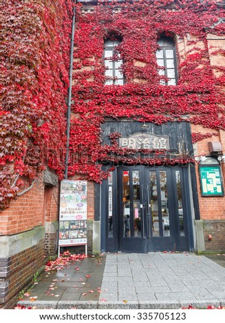 HAKODATE  HOKAIDO - NOV,5 : The classic restaurant is decorated by red maple leaves that cover all over the wall of this place. JAPAN NOV,5 2015