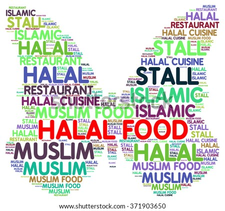 Halal food info-text (word cloud) .Natural muslims food.