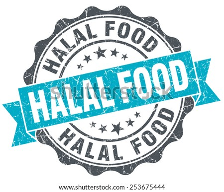 halal food vintage turquoise seal isolated on white - stock photo