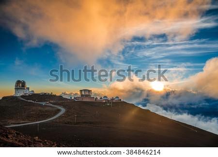 Haleakala crater at sunset, at Haleakala National Park, Maui, Hawai'i - stock photo