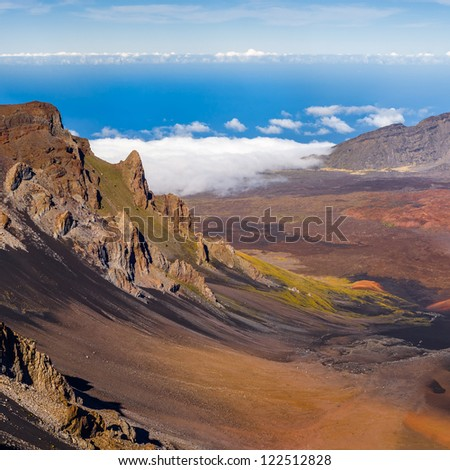 Haleakala crater on top of the volcano, Maui, Hawaii. Very high resolution panorama. - stock photo