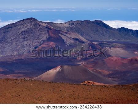 Haleakala volcanic crater on Maui Island - stock photo