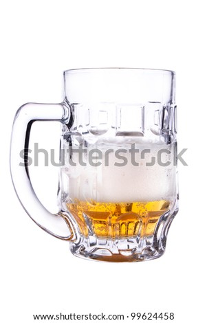 half a beer. Photographed on a white background - stock photo