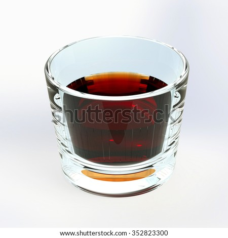 half a glass of whiskey - stock photo