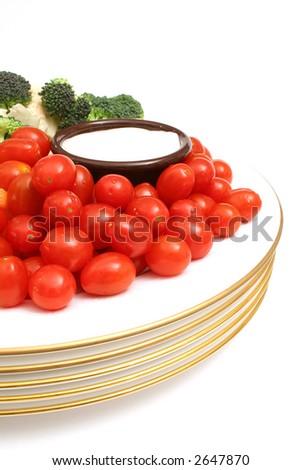 half a plate of veggies - stock photo