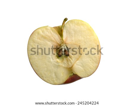 half an apple on a white background, isolated - stock photo