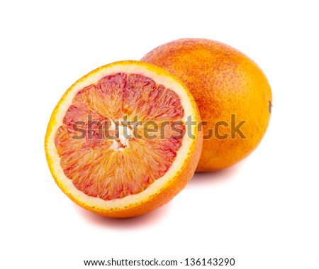 Half and full of blood red oranges isolated on white background
