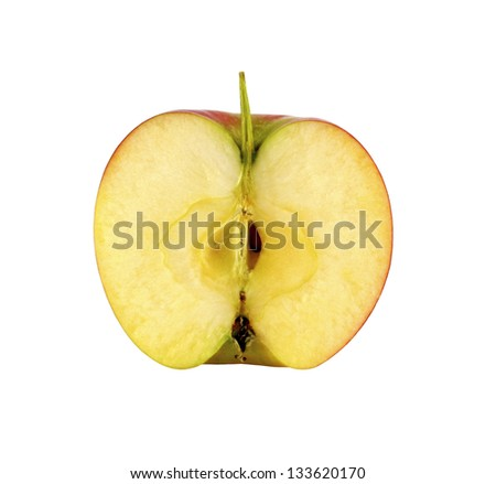 Half apples isolated on white background - stock photo