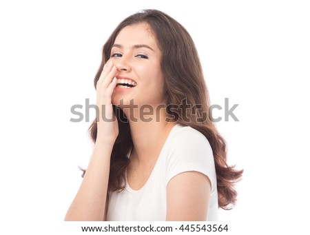 half asian woman Laugh on white background