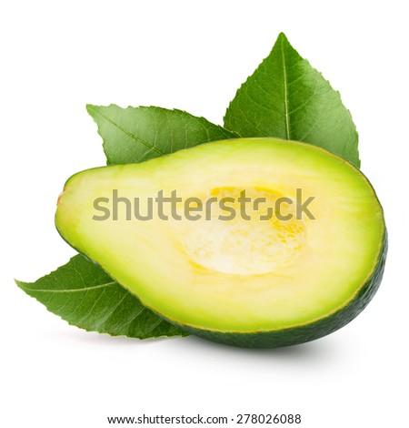 half avocado isolated on white - stock photo