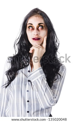 Half body portrait of dead or zombie businesswoman looking upwards thoughtfully, white background - stock photo
