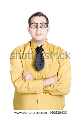 Half body portrait of nerdy young man in glasses and shirt with tie, white background
