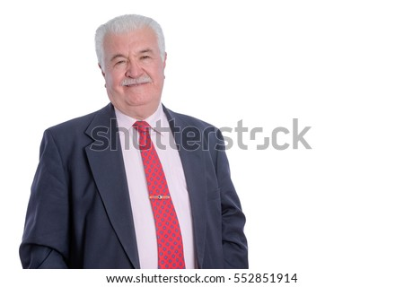 Half body portrait of smiling mature businessman in suit on white background with copy space
