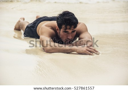 laying on beach with body cum