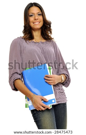 Half body view of college student or young teacher in casual wear, holding exercise books. Isolated on white background. - stock photo