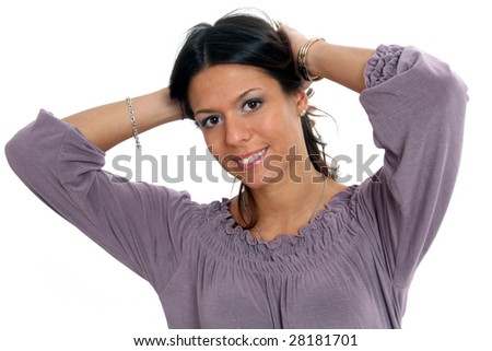 Half body view of lovely fashion model with purple t-shirt, hands on her head, smiling. Isolated on white background. - stock photo