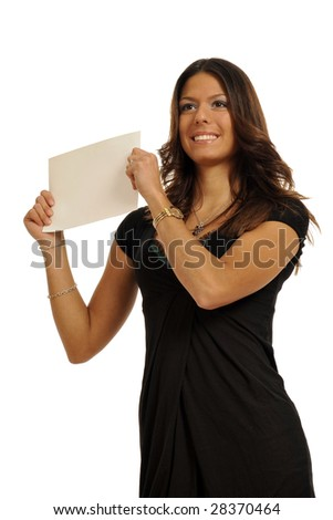 Half body view of woman holding a blank sign in business wear, with free space for custom message. Isolated on white background. - stock photo