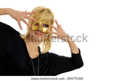 Half body view or lovely blond woman wearing golden mask. Isolated on white background. - stock photo