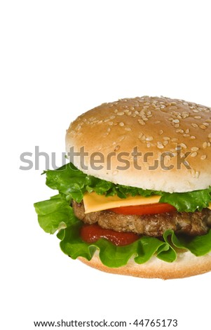 Half cheeseburger isolated on white.
